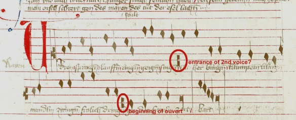 "Oswald von Wolkenstein: ""Ir alten weib"" (Kl 21; A-Wn 2777, fol. 12r), third section."